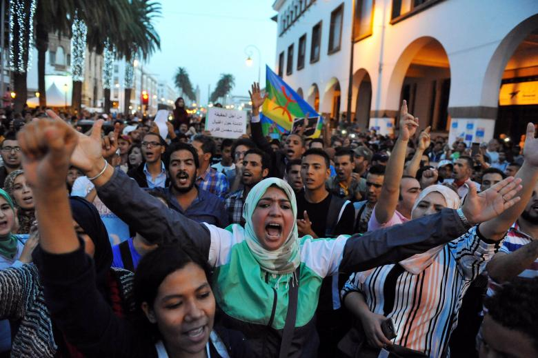 Protests take part in a rally called by the February 20 Movement in Rabat after a fishmonger in the northern town of Al Hoceima was crushed to death inside a rubbish truck as he tried to retrieve fish confiscated by police October 30, 2016.  REUTERS/Stringer
