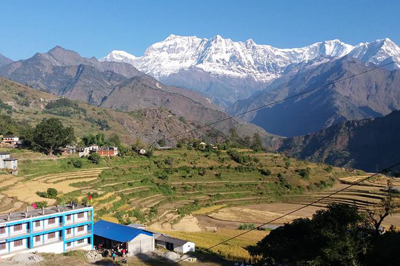 A scenic view of Mount Dhaulagiri as seen from Takam of Myagdi district on Sunday, November 13, 2016.  Photo: RSS