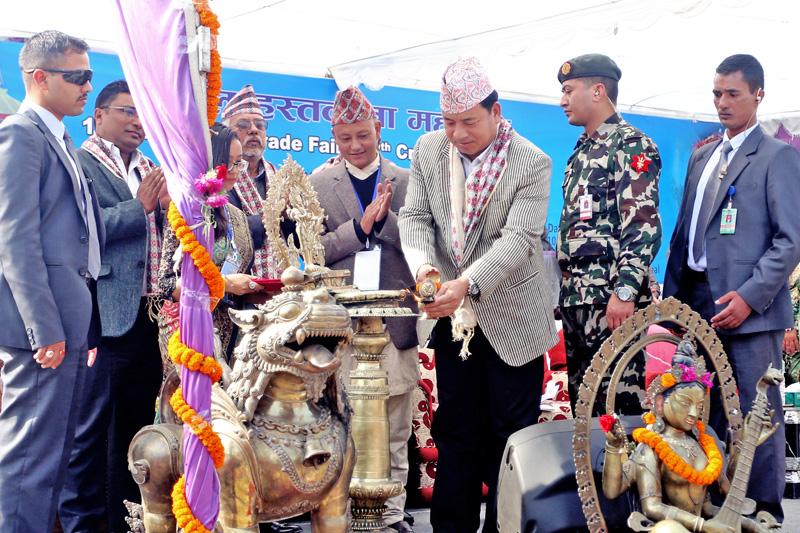 Vice-President Nanda Bahadur Pun inaugrating the 14th Competitive Handicraft Exhibition organsed by the Nepal Handicraft Forum, in Kathmandu, on Friday, November 25, 2016. Photo: RSS