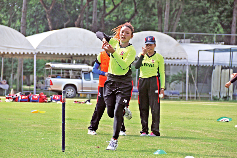 Nepalu0092s Sarita Magar bowls during a training session at the Terdthai Cricket Ground in Bangkok on Friday, November 25, on the eve their ACC Womenu0092s Asia Cup match against Pakistan. Photo Courtesy: Raman Shrestha