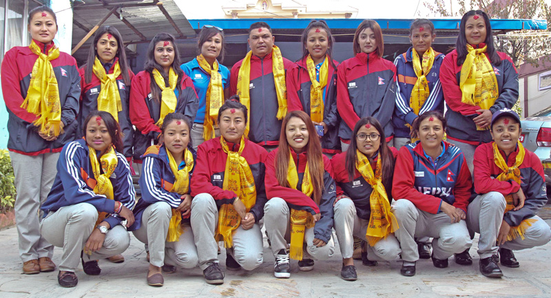 Nepali national womenu0092s cricket team members pose for a group photo with officials after the farewell programme in nKathmandu on Wednesday, November 23, 2016. The team left for Thailand to participate in the ACC Womenu0092s Asia Cup. Photo: THT