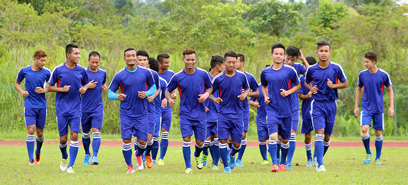 Nepal national football team members jog during a team training session in Kuching, Malaysia, on Monday, November 7, 2016. Nepal will take on Brunei in the  second and final Group A match of the AFC Solidarity Cup at the Sarawak Stadium on Tuesday. Photo courtesy: ANFA