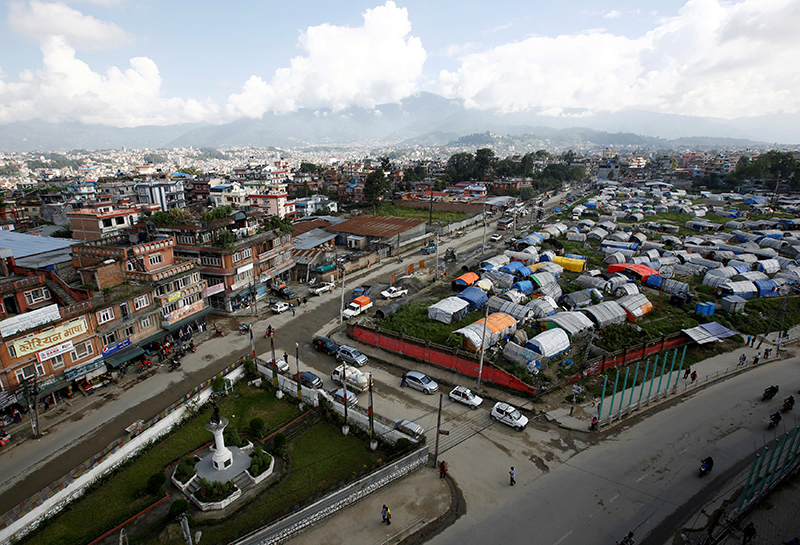 A general view of displacement camps for earthquake survivors at Chuchepati.
