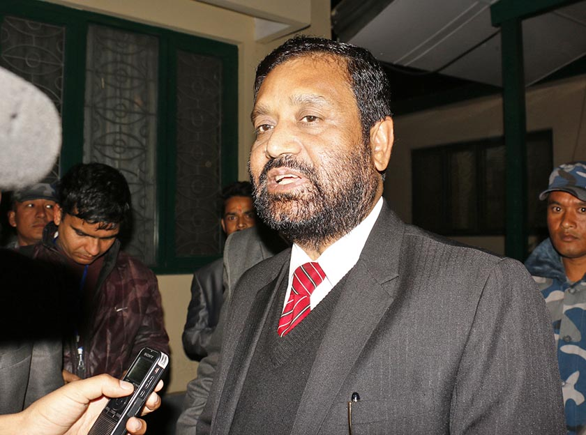 FILE: Nepali Congress leader Bimalendra Nidhi talks to the media after a joint meeting of the partyu2019s office-bearers and lawmakers, on November 22, 2016. Photo: RSSn
