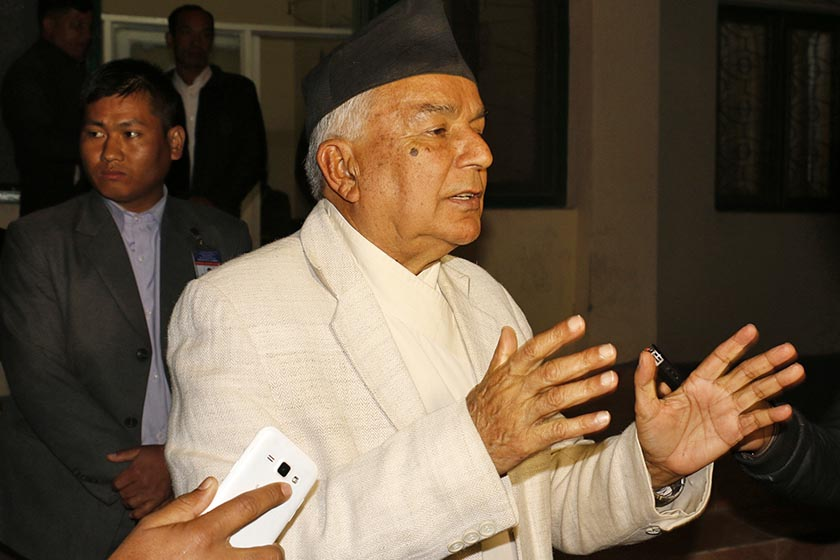 FILE: Nepali Congress leader Ram Chandra Paudel talks to the media after a joint meeting of the party's office-bearers and lawmakers. Photo: RSS