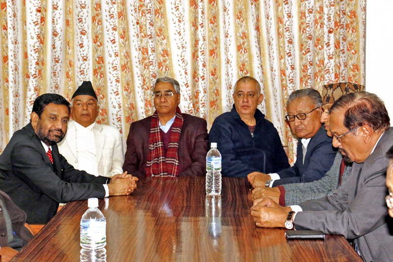FILE: Nepali Congress senior leaders  taking part in the joint meeting of the party's office-bearers and lawmakers at the Nepali Congress Parliamentary Party office at Singhadarbar in Kathmandu, on Tuesday, November 22, 2016. Photo: RSS