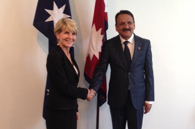 Minister for Foreign Affairs Prakash Sharan Mahat holds a meeting with his Australian counterpart Julie Bishop, in Canberra, on Thursday, November  24, 2016. Photo: Yekraj Pathak
