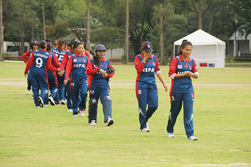 Dejected Nepali players coming out of the ground after their ACC Womenu2019s Asia Cup match against Sri Lanka in Bangkok on Monday, November 28, 2016. Photo courtesy: Raman Shiwakoti