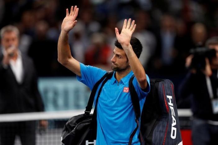Tennis - Paris Masters tennis tournament men's singles quarterfinals - Novak Djokovic of Serbia v Marin Cilic of Croatia - Paris, France - 4/11/2016 - Djokovic reacts at the end of the match. REUTERS/Gonzalo Fuentes