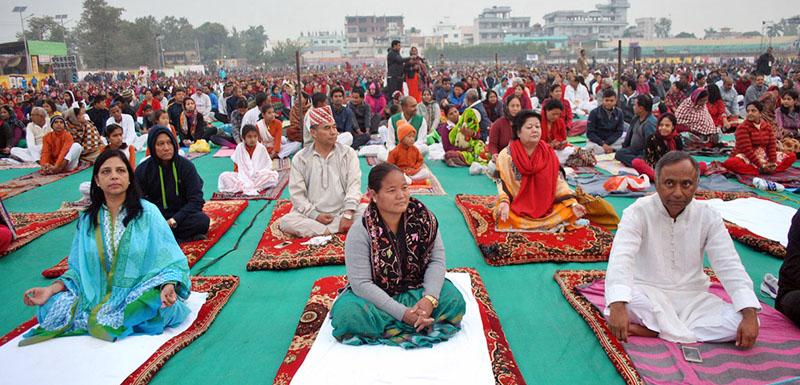 Speaker Onsari Gharti Magar participates in a yoga camp at Aadarshanagar Stadium in Birgunj of Parsa district on Monday, November 28, 2016. Photo: RSS