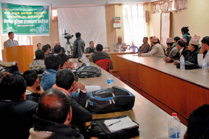 PACT Director Govinda Prasad Sharma addresses a programme to distribute grant agreements in Pokhara, on Monday, November 28, 2016. Photo Courtesy: PACT
