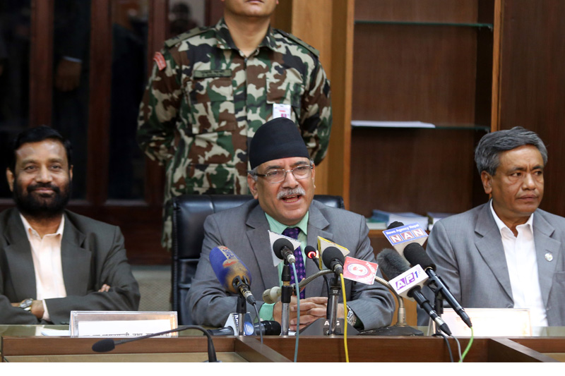 Prime Minister Pushpa Kamal Dahal addresses a press meet organised to share achievements of the government in its first 100 days, in Kathmandu, on Friday, November 11, 2016. Photo: RSS