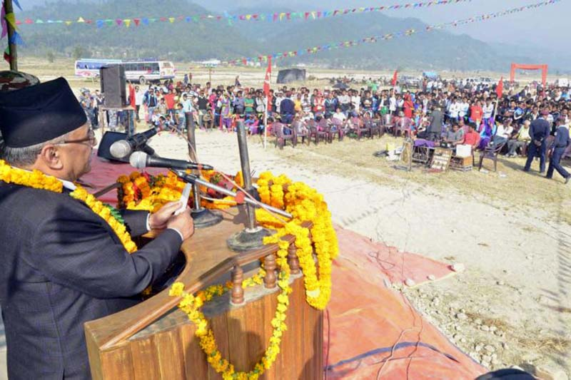 CPN Maoist Centre Chairman Pushpa Kamal Dahal addresses a mass meeting of the party in Kalpabriksha of Sindhuli district, on Thursday, November 24, 2016. Photo: PM's Secretariat