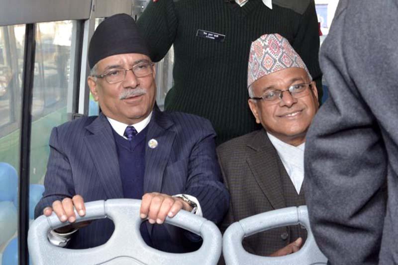 Prime Minister Pushpa Kamal Dahal rides Sajha Yatayat to work, on Sunday, November 27, 2016. Photo Courtesy: PM's Secretariat
