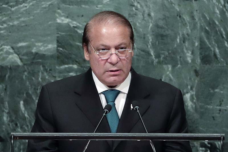File- Pakistani Prime Minister Nawaz Sharif speaks during the 71st session of the United Nations General Assembly at UN headquarters, on September 21, 2016. Photo: AP