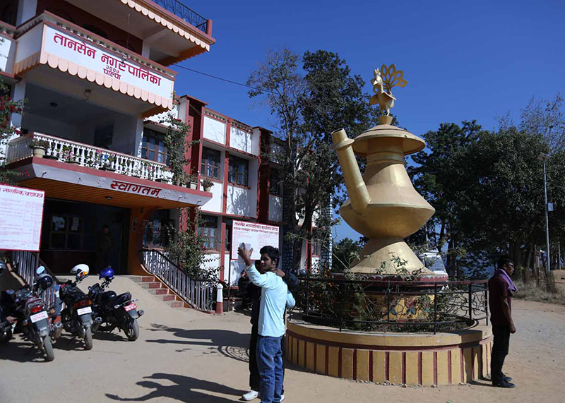 Domestic tourists take selfie in front of well-known Karuwa of Tundikhel at Tansen in Palpa district on Tuesday, November 22, 2016. Photo: RSS