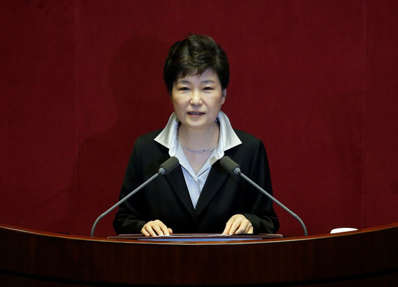 South Korean President Park Geun-hye delivers her speech on the 2017 budget bill during a plenary session at the National Assembly in Seoul, South Korea, on October 24, 2016. Photo: Reuters
