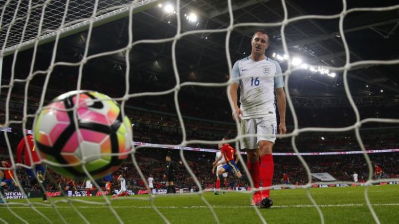 Britain Football Soccer - England v Spain - International Friendly - Wembley Stadium - 15/11/16 England's Phil Jagielka looks dejected after Spain's second goal Reuters / Eddie Keogh Livepic EDITORIAL USE ONLY.