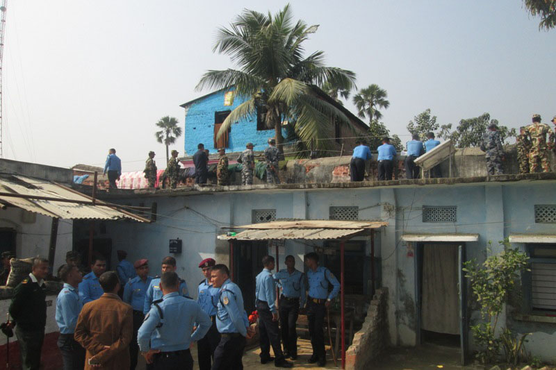 Police personnel guard the Jaleshwor Prison after some inmates engaged in a violence clash here, in Mahottari district, on Sunday, November 27, 2016. Photo: Brij Kumar Yadav