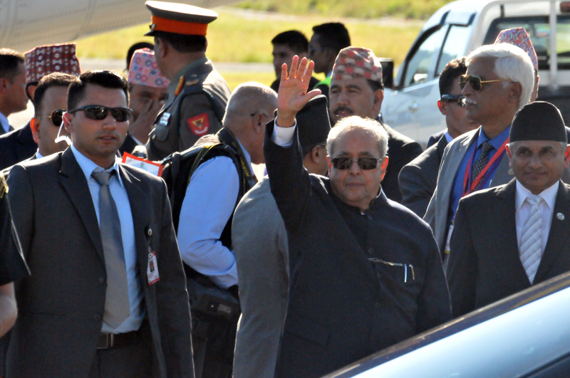 Indian President Pranab Mukherjee waves to mediapersons after visiting Pokhara, on Friday, November 4, 2016. Mukherjee was on a 3-day state visit to Nepal. Photo: Bharat Koirala