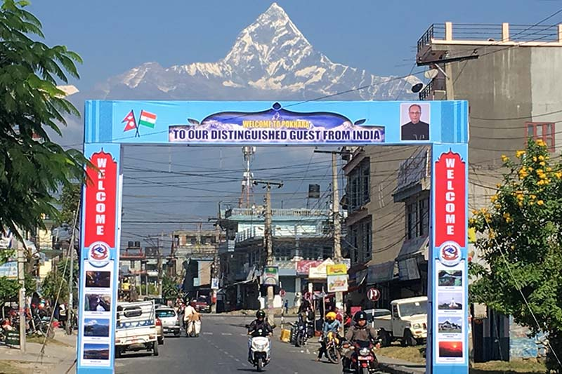 Preparations for the welcome of Indian President Pranab Mukherjee are seen on the eve of Mukharjeeu2019s visit, in Pokhara, on Thursday, November 3, 2016. Photo: Bharat Koirala/ THT