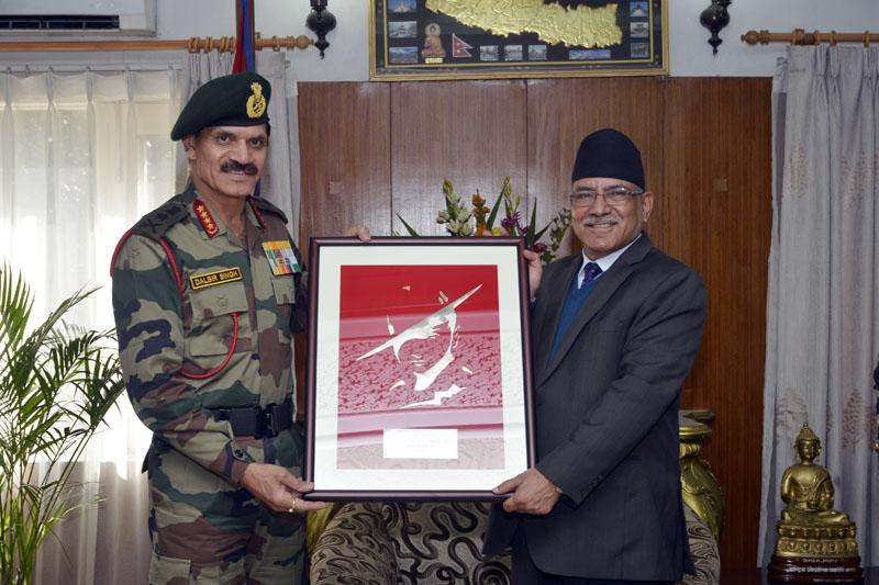 Indian Army Chief, General Dalbir Singh, pays a courtesy call on Prime Ministe Pushpa Kamal Dahal at Baluwatar in Kathmandu, on Saturday, November 12, 2016. Photo: PM's Secretariat
