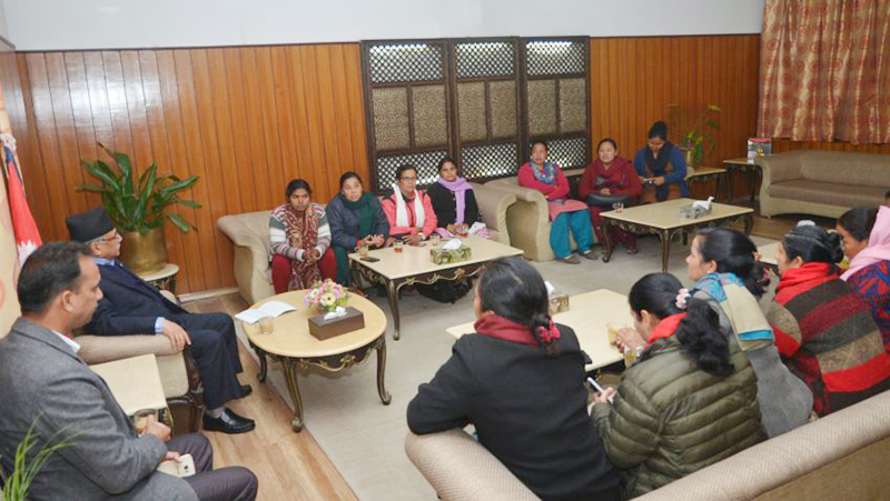 Prime Minister Pushpa Kamal Dahal in a meeting with the representatives of the All Nepal Women's Association-Revolutionary (ANWA-R) at his official residence at Baluwatar, Kathmandu, on Wednesday, November 30, 2016. Photo: PM Secretariat
