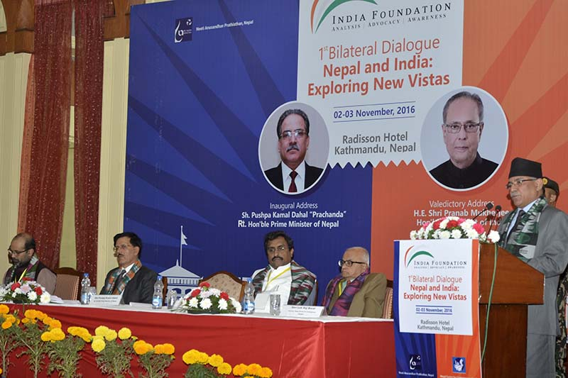 Prime Minister Pushpa Kamal Dahal addresses the seminar on 'Nepal and India: Exploring New Vistas' at the Radisson Hotel, Lazimpat, on Wednesday, November 2, 2016. Photo Courtesy: PM's Secretariat