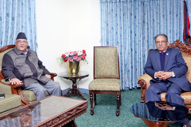 Prime Minister Pushpa Kamal Dahal and CPN-UML Chairman KP Sharma Oli holding discussion on the latest contemporary issues and Constitution amendment in Singha Durbar, Kathmandu, on Thursday, November 10, 2016. Photo: RSS