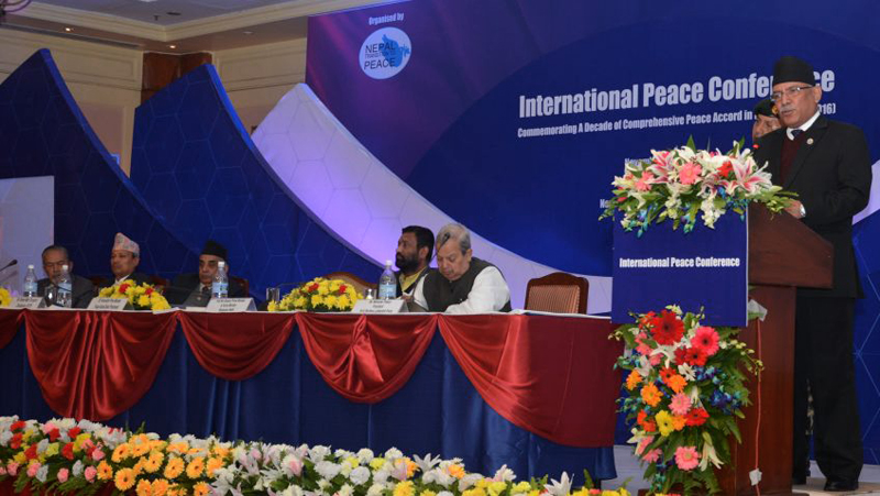 Prime Minister Pushpa Kamal Dahal addresses the International Peace Conference, organised on teh occasion of 10th Anniversary of beginning of Nepal peace process, at Hotel Radisson, in Kathmandu, on Wednesday, November 16, 2016. Photo: PM's Secretariat