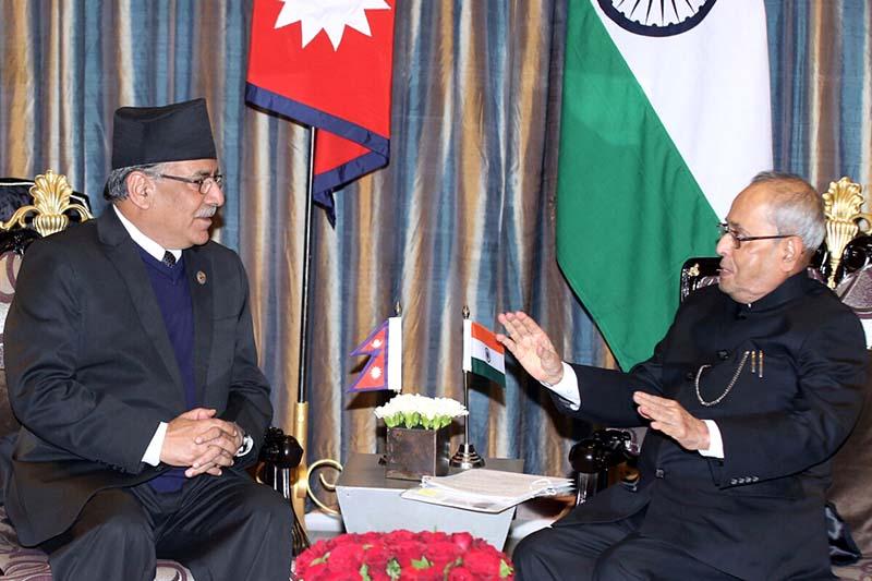 Nepali Prime Minister Pushpa Kamal Dahal in a meeting with Indian President Pranab Mukherjee at the Hyatt Regency in Kathmandu, on Wednesday, November 2, 2016. Photo: RSS