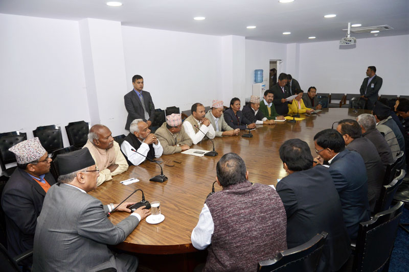 Prime Minister Pushpa Kamal Dahal addresses leaders of Federal Alliance at Baluwatar in Kathamandu on Monday, November 14, 2016. Photo: PM's Secretariat