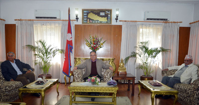 Prime Minister and the CPN Maoist Centre Chairperson Pushpa Kamal Dahal (centre), the Nepali Congress President Sher Bahadur Deuba (left) and the CPN-UML Chairperson KP Sharma Oli during a meeting among main leaders of politicial parties on various issues including the Constitution amendment at Baluwatar in Kathmandu on Thursday, November 17, 2016. Photo: PM's Secretariat