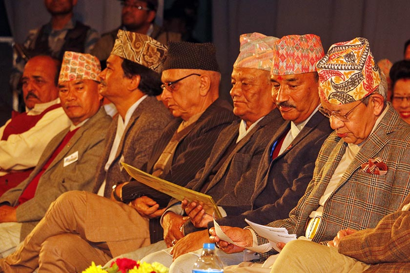 FILE: Senior leaders of the RPP-Nepal and RPP attending the function organised to announce the party unification in November 2016. Photo: RSS