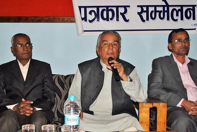 Nepali Congress leader Ram Chandra Paudel in Parsa. Photo: RSS