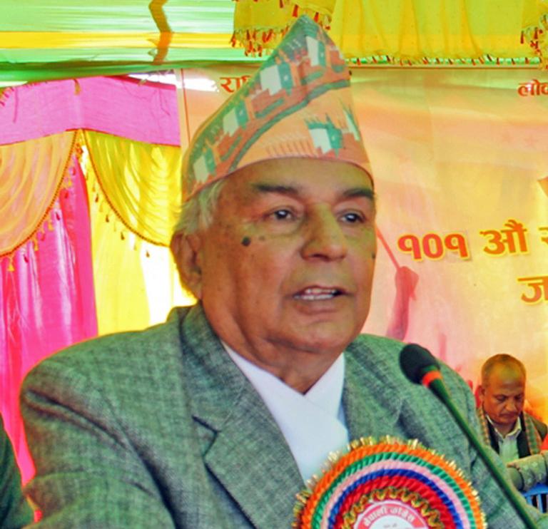 FILE: Nepali Congress senior leader Ram Chandra Paudel speaking on the occasion of 102nd birth anniversary of Ganeshman Singh, at Lokanthali of Bhaktapur district, on Wednesday, November 9, 2016. Photo: RSS