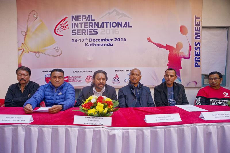 Nepal Badminton Association President Ramji Bahadur Shrestha (left) speaks as other officials look on during a press meet in Kathmandu on Sunday, November 27, 2016. Photo: THT