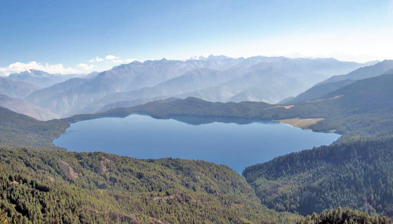 A scenic view of Rara Lake from Marma Tower of Mugu, on Sunday, November 13, 2016. The trekking route to Rara has been criticised lately for not facilitating tourists adequately. Photo: THT