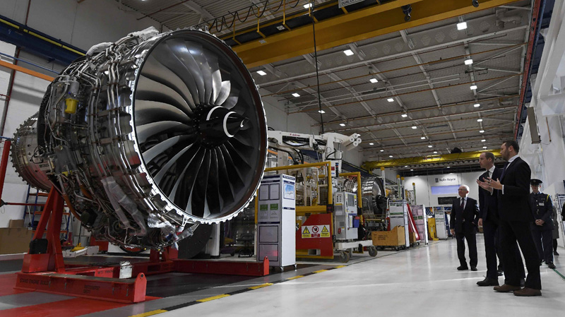 Britain's Prince William,  visits the Rolls Royce XWB engine assembly line with Simon Middlebrough, Director of Assembly and Aerospace Testing during a visit to the Rolls Royce factory in Derby, November 30, 2016. Photo: Reuters