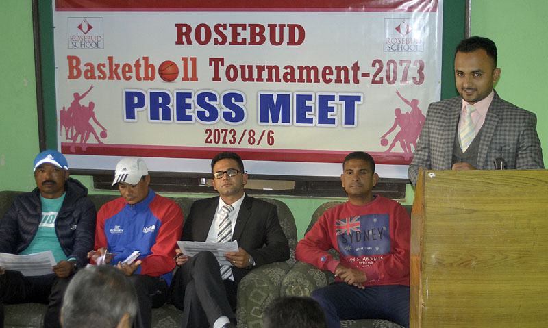 Rosebud School officials during a press meet at the NSJF office in Kathmandu on Monday.