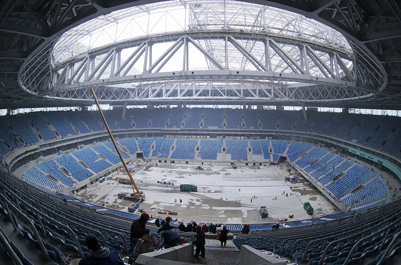 FILE - In this Monday, October 3, 2016 file photo, a soccer stadium is under construction on Krestovsky Island, in St. Petersburg, Russia. Photo: AP