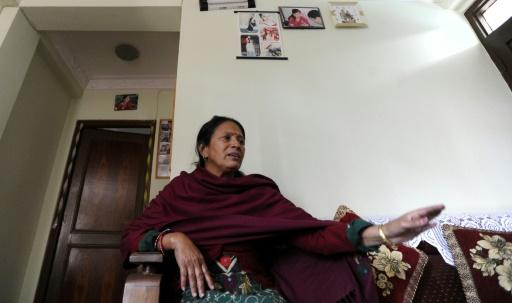 Sabitri Chilwal, widow of Ganesh Chilwal, who was allegedly shot dead by Maoist cadres in 2004, in Kathmandu. Photo: AFP