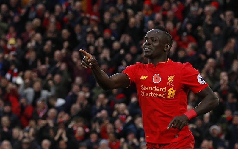 Liverpool's Sadio Mane celebrates scoring their fifth goal. Photo: Reuters