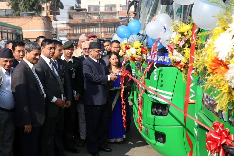 Prime Minister Pushpa Kamal Dahal inaugurates newly added Sajha Yatayat buses in Lalitpur district on Saturday, November 27, 2016. Photo: RSS
