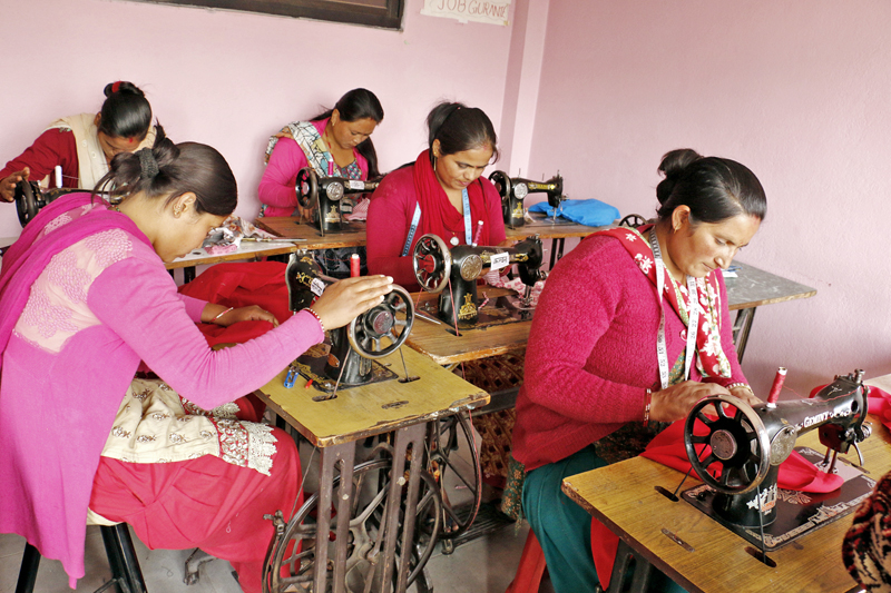 Women taking a sewing training course for self-employment at Shankhadhar Chok in Madyapur Thimi of Bhaktapur district, on Friday, November 25, 2016. Photo: RSS
