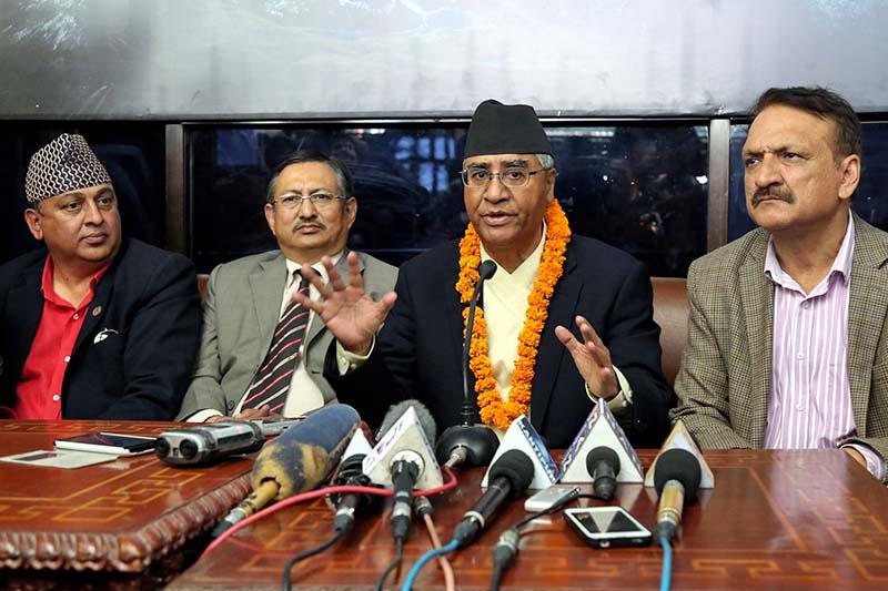 Nepali Congress President Sher Bahadur Deuba briefs media about his India visit upon his return, at the Tribhuvan International Airport in Kathmandu, on Wednesday, November 9, 2016. Photo: RSS