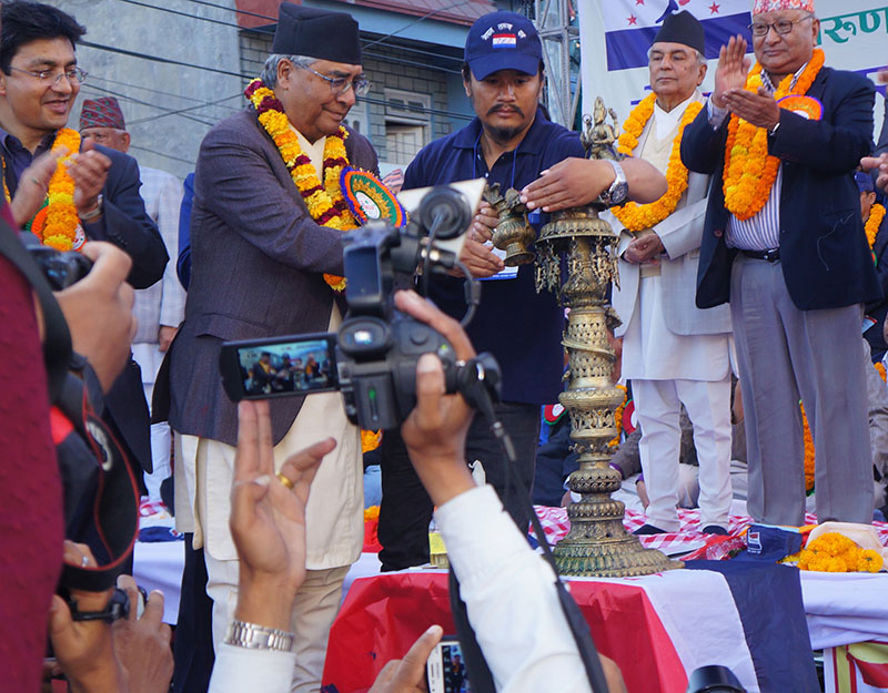 Nepali Congress President and former Prime Minister Sher Bahadur Deuba inaugurates the fourth general convention of Nepal Tarun Dal, a sister organisation of Nepali Congress, in Pokhara, on Saturday, November 12, 2016. The convention would be held till November 14. Photo: Bharat Koirala