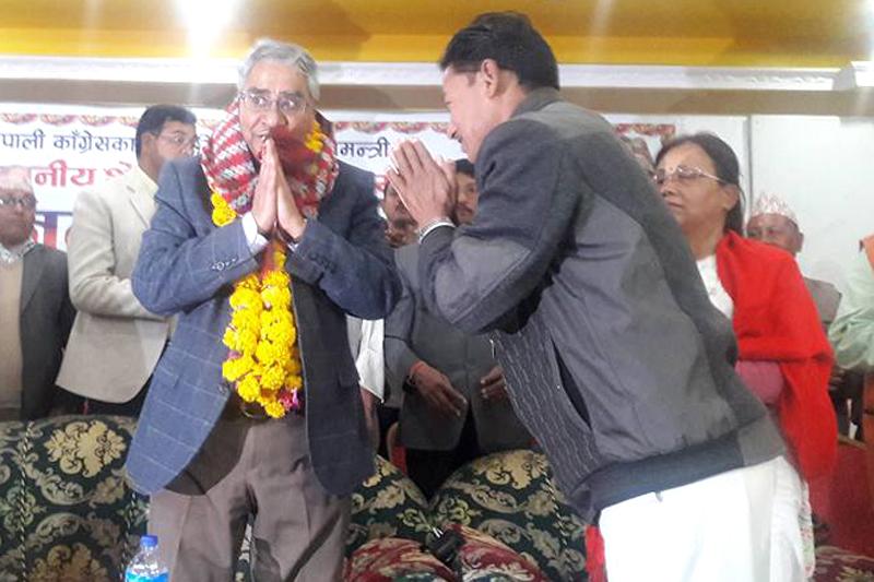 Nepali Congress President Sher Bahadur Deuba greets audience at a programme orgaised by Nepal Press Union in Kailai, on Thursday, November 17, 2016. Photo: Sher Bahadur Deuba/Facebook