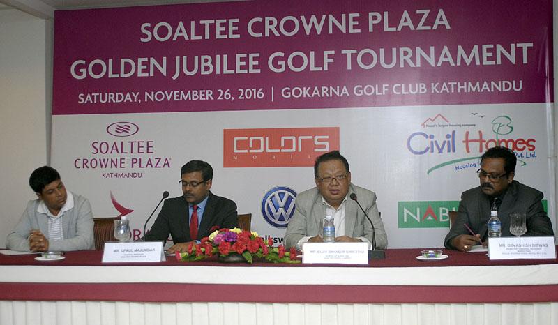 (From left) Senior Golf Director at Gokarna Forest Resort Deepak Acharya, General Manager at Soaltee Crowne Plaza Upaul Majumdar, Board of Director at Soaltee Hotel Limited Bijay Bahadur Shrestha and Assistant GM at Pooja International Devashish Biswas at a press meet in Kathmandu on Monday.
