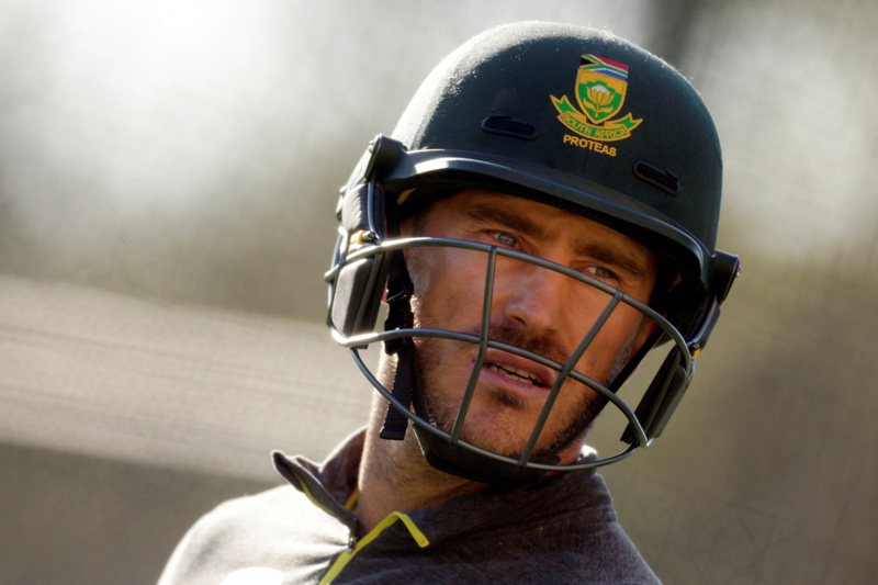 South African cricket captain Faf du Plessis during a training session in Adelaide. Photo: Reuters